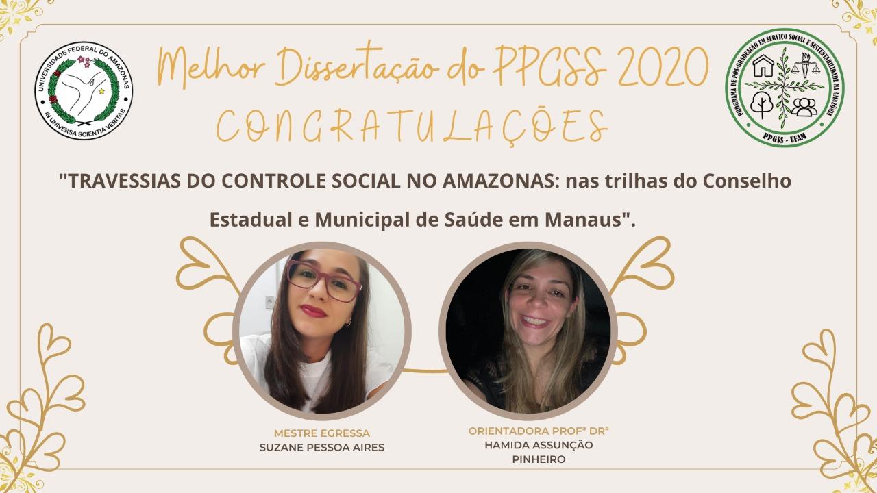 MELHOR DISSERTAÇÃO DO PPGSS 2020